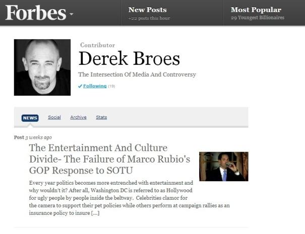 Derek Broes, Contributor For Forbes.com